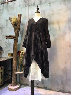 V-Neck Chinese Buttons Asymmetrical Cardigan Stripes Linen Vintage Coat  #coat #asymmetrical #Chinese #overcoat #vintage #retro #stripes #linen #black #Chinese #wholesale