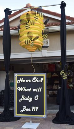 What will it Bee? Created by Party Perfect Events, a full service Event Planning & Decor company located in Boca Raton, Florida - What will it Bee? Created by Party Perfect Events, a full service Event Pla - Gender Reveal Box, Gender Reveal Party Games, Gender Reveal Themes, Pregnancy Gender Reveal, Gender Reveal Party Decorations, Gender Party, Gender Reveal Invitations, Baby Shower Gender Reveal, Reveal Parties