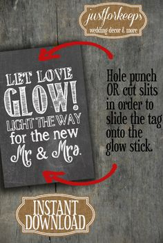 Glow Stick Tags Chalkboard Printable Glow Stick by justforkeeps