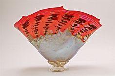 Red Optic Iris Yellow Overlay Bowl: Dierk Van Keppel: Art Glass Bowl - Artful Home