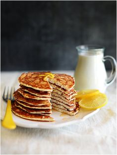 Lemon Chia Seeds Protein Pancakes.