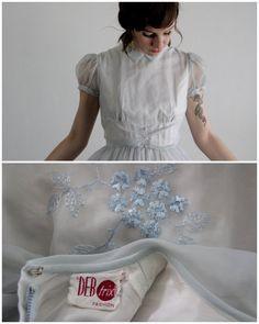 Vintage 50s Dress . Ice Blue . Girls Gown . Organza . by VeraVague