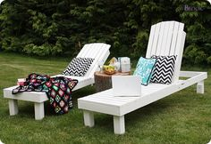 DIY lounge chairs - $40 each - great for the back porch so the Adirondack chairs can finally go down to the garden and dock area