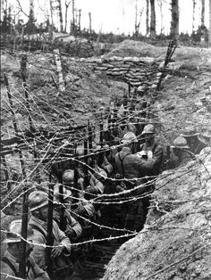 French troops line up for inspection on a trench on the Western Front