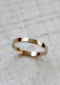 Gold hammered ring thin 14k gold band ring by PraxisJewelry, $160.00