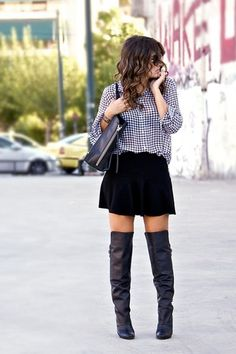 over the knee boots. skater skirt and plaid shirt. DEF in for this fall !!