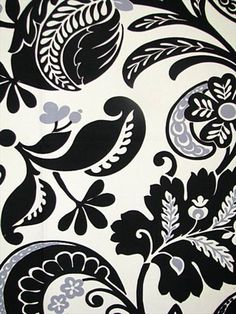 """Alexandria Scroll Noir.  100% cotton for Drapery, Bedding, Pillows, Light Use Furniture. 25.25"""" vertical repeat, waybond finish, 54"""" wide."""