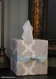 Kleenex Box Cover: I bought a three pack of tissues and when I got to the last box it had the ugliest pattern/color. Every time I looked at it it made me cringe. Next time I will do this!
