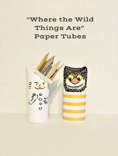 "Paper tube craft inspired by ""Where the Wild Things Are"" children's book."