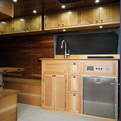 Van Conversions by Brawley Made and Vantage Point Custom vans, designing and building out custom cabinetry for these one-of-a-kind Sprinter van conversions. Sprinter Van Conversion, Custom Vans, Custom Cabinetry, Campervan, Kitchen Cabinets, Building, Design, Home Decor, Custom Closets