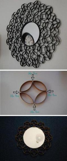 Decoracion de espejo circular utilizando tubos de papel