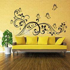3d mariposa pegatinas de pared calcomanías estilo y flor de ratán pvc pegatinas de pared 2016 - $14.15