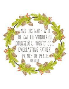 Free Christmas Printable || Isaiah 9:6 | http://heartsandsharts.com/free-christmas-printable-isaiah-96/