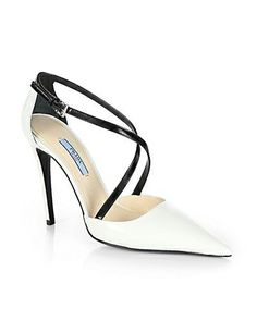Prada Leather Crisscross Pumps