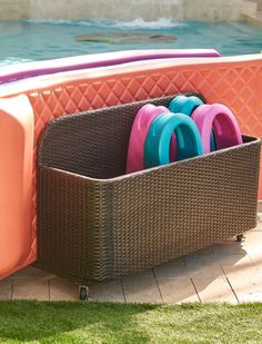 We've made our sturdy, all-weather float storage even roomier. Designed to hold up to six varying-sized floats, such as our World's Finest Float, the unit includes an oversized front compartment that accommodates a host of other pool toys and supplies.