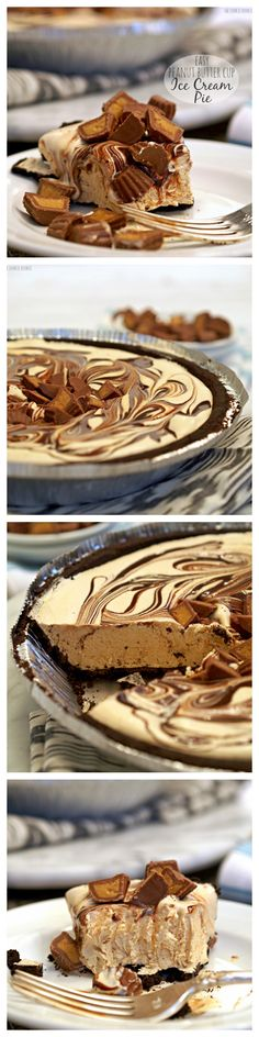 Easy Peanut Butter Cup Ice Cream Pie is a perfect simple dessert from The Cookie Rookie! Only 4 ingredients! Ice Cream Pies, Ice Cream Desserts, Frozen Desserts, Fun Desserts, Delicious Desserts, Dessert Recipes, Yummy Food, Frozen Treats, Think Food