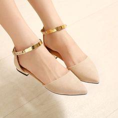 2016 apontou toe de veludo mulheres de flats com tira no tornozelo sapatos de casamento festa clube preto nudez salto plana fivela brilho sapatos de camurça em Apartamentos das mulheres de Sapatos no AliExpress.com | Alibaba Group