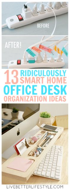 These ridiculously smart home office desk organization ideas are the best! I really need inspiration to organize my home office desk and this is perfect for that! Definitely pinning for later! #home #organization #office #desk