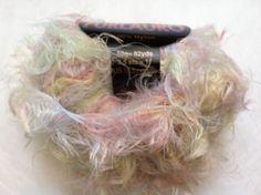 Plymouth Furlauro Long Eyelash Yarn no.804 Pastels Pink Yellow Blue Green So Soft 82Yds