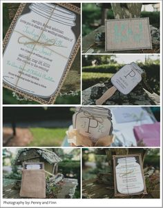 This is perfect!  Mason Jar Invites and fans for the outdoor summer wedding!  LOVE IT!