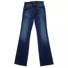 7 FOR ALL MANKIND Kimmie Denim Low-Rise Jeans Manufacturer: 7 For All Mankind Size: 24 Size Origin: US Manufacturer Color: Blue Shadows Retail: $198.00 Condition: New with tags Style Type: Boot Cut Collection: 7 For All Mankind Bottom Closure: Button-Zip Fly Waist Across: 12 1/2 Inches Inseam: 33 1/2 Inches Leg Opening: 17 Inches Hips Across: 14 1/2 Inches Rise: 8 Inches Bottom Rise: Low Denim Wash: Whisker Wash Pocket Style: Five-Pocket Material: 74% Cotton/24% Nylon/2% Spandex Fabric Type…