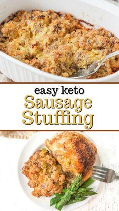 Easy Keto Sausage Stuffing - looking for a gluten free, low carb stuffing for Thanksgiving? Check this out. #ketorecipe #glutenfreestuffing #lowcarbstuffing #thanksgivingdinner #easyrecipe