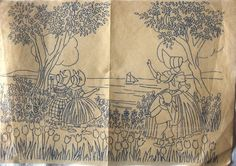Two vintage iron-on embroidery transfers depicting crinoline ladies. The first is Transfer no. 22402, a supplement to Needlework Illustrated no. 158, which I believe dates from 1940. It features a crinoline lady, unusually with her face showing, in a flower garden with hollyhocks etc. It has been folded, but the ink appears to be in good condition. It measures 12 x 9 (30 x 22 cm). The second transfer depicts a crinoline lady with a little boy and two little girls watching a sailing boat from…