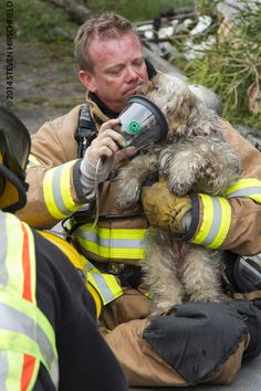 Largo firefighter administers oxygen to one of several dogs rescued from a mobile home fire. | Shared by LION