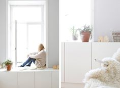 Cabinet at same height as windowsill makes a nice lounging space   Studio Oink Wiesbaden Apartment // Remodelista