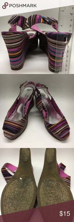 """Rampage colorful wedges Colorful tribal print open toe sling back wedges. Purples, greens, orange and blue . Height is about 3"""" and platform 1"""". Rampage Shoes"""