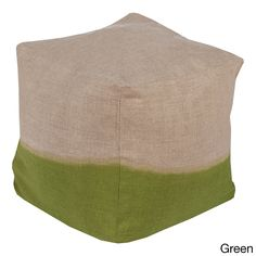 Solid Lada Square Linen 18-inch Pouf (Green), Size 18 x 18