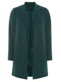 Green Notch Neck Coat - Jackets & Coats - Clothing - Dorothy Perkins