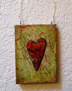 Full of Heart Mixed Media Original, Valentine, Miniature Canvas Wall Hanging, Home Decor. $22.50, via Etsy.