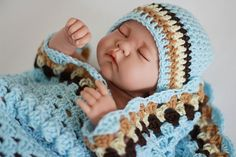 Crochet Baby Blanket / Afghan and Hat Granny Square Blue