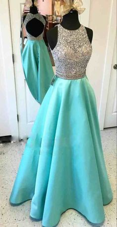 Prom Dresses,Scoop Prom Gowns,Long Satin Prom Dresses,Turquoise Prom Dress,Prom Dresses with Beadings,Open Back Prom Dress