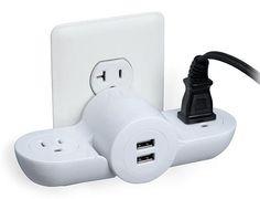 Pivot Power Mini Wall Plug with 2 USB Ports