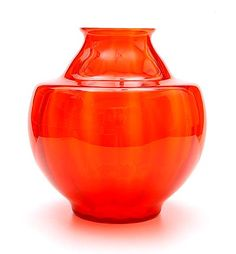 Orange glass vase with vertical optical design Andries Dirk Copier 1928 executed by Glasfabriek Leerdam.