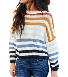 Zesica Long Sleeve Striped Color Block Sweater
