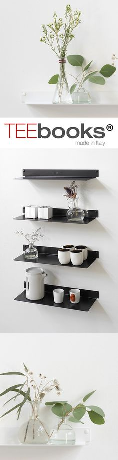 The TEEline 6015 wall shelf is a floating shelf for the home or for the office. The TEEline wall shelf does not deviate from the elegant and discrete style that is the feature of TEEbooks wall-mounted shelves. Able to be attached to the wall in the hallway, kitchen or even bathroom, the TEEline floating shelf is both functional and simple to attach. #wallshelf #design #shelves #shelf #floating #floating shelf #office