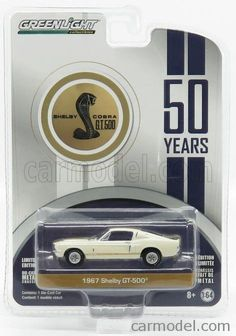 GREENLIGHT 27920A Scale 1/64  FORD USA MUSTANG SHELBY COBRA GT500 COUPE 1967 - 50th ANNIVERSARY WHITE GOLD