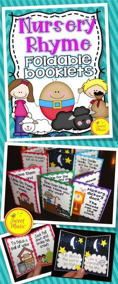 Nursery Rhyme Foldable Booklets and Posters (In color and B/W) Nursery Rhyme Crafts, Nursery Rhymes Preschool, Nursery Rhyme Theme, Preschool Songs, Kindergarten Literacy, Early Literacy, Preschool Learning, Teaching, Rhyming Activities