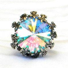 Vintage+Crystal+Aurora+Borealis+Rivoli+Rhinestone+by+Lauriechacha,+$20.00