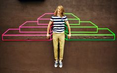 Lacoste LIVE Spring-Summer 2012 campaign, featuring art by tape artist Aakash Nihalani. Shot in New York by Mark Hunter, aka the Cobrasnake. Tape Art, Lacoste Live, Geometric Artists, Tape Installation, Artist Biography, Modern Metropolis, Walking In Nature, City Art, Street Artists