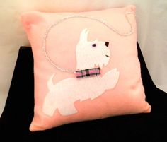 SOLD! Throw pillow terrier westie decorative pillow by CleverRuthie, $20.00