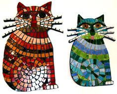 """11.5"""" Whiskered Sitting Cat Stained Glass Mosaic Tile Wall Art FREE U.S. SHIPPING. $175.00, via Etsy."""
