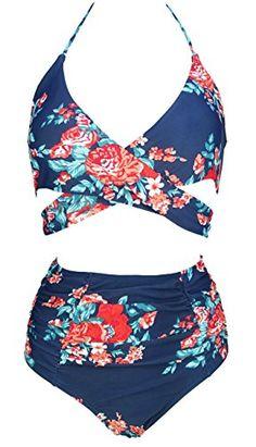 aa2cc3638b793 COCOSHIP Women s Ruching High Waist Bikini Set Cross Wrap Push up Top Tie  Back Bathing Swimsuit(FBA). PixBreak Fashion