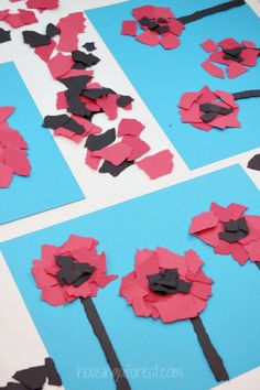 Torn Flower Craft ~ Veteran's Day or Remembrance Day Poppy for Kids - Modern