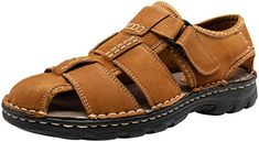 KTOL Casual Mens Sandal Leather Beach Shoes Summer Outdoor Hollow Sandals Waterproof Non-Slip Shock Absorption