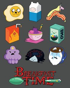 Adventure Time breakfast i love bmo cereal and jake eggs i want it