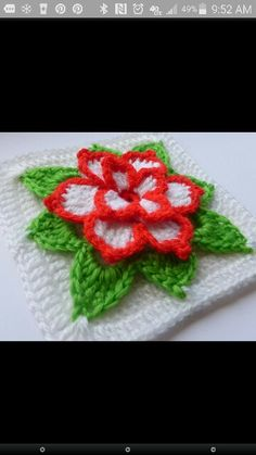 Poinsettia Square. Pretty sure mine would be all red with yellow balls in its center. ;-) http://www.ravelry.com/patterns/library/poinsettia-in-square